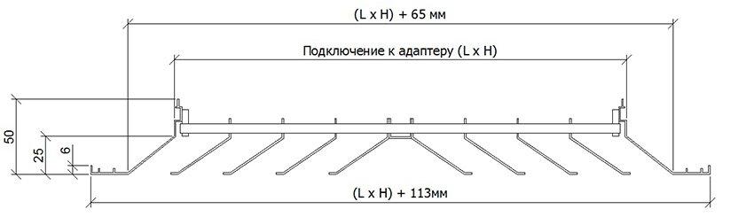 Потолочный диффузор класcический  ПДК, ПДК+R размеры