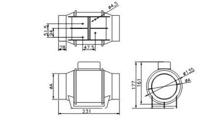 Габаритные размеры осевого круглого канального вентилятора Dospel TURBO