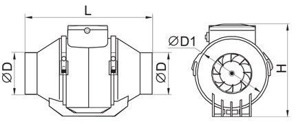 Габаритные размеры канальных вентиляторов Вентс ТТ